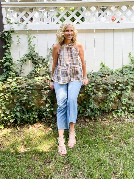 Perfect little summer outfit. Cotton linen blend jeans are cool for summer and on sale over 50% off. Top is also 50% off   #LTKunder50 #LTKSeasonal #LTKsalealert
