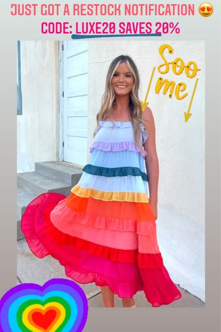 Couldn't pass up the restock alert on this Judith March tiered ruffle multicolor maxi dress. #summerdress #summeroutfit #vacationoutfit #LTKunder100 #LTKstyletip #LTKbump http://liketk.it/3jPP6 #liketkit @liketoknow.it