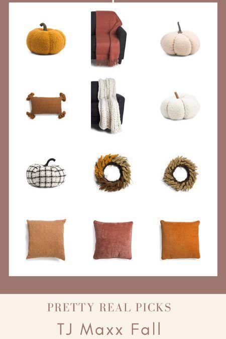Tj Maxx fall finds! Wreaths, throw pillows, pumpkins, felt pumpkins, fall decor, textured pillows, pillow combo, knit throw   #LTKunder50 #LTKSeasonal #LTKhome