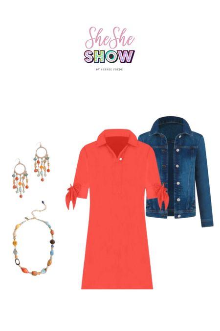 @lovechicos #chicos #shirtdress #denim #denimjacket #bluejeanjacket #statementjewelry #accessories #jewelry   #LTKunder50 #LTKunder100 #LTKworkwear