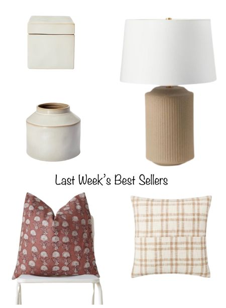 Last week's best sellers!  My affordable table lamp, a pretty Etsy pillow, Target decor, and my favorite new affordable pillow!  #LTKhome #LTKunder50 #LTKunder100