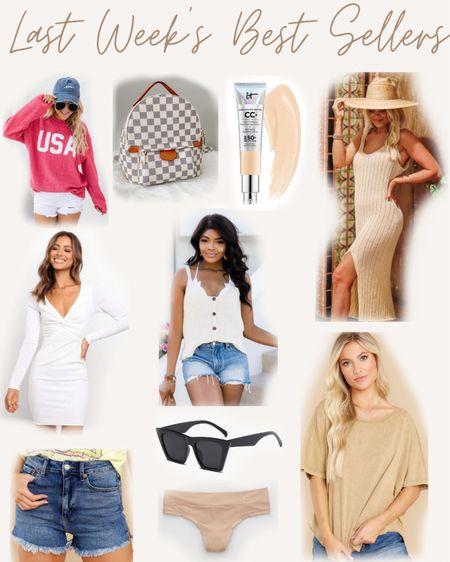Last week's top 10 🤍 Use code: BRITTANYH20 to save on white dress  Use code: BRITTANYH40 to save on backpack . . .  http://liketk.it/3hAIC #liketkit @liketoknow.it #LTKstyletip #LTKunder50 #LTKunder100 backpack, tank top, Fourth of July, foundation, white dress, Amazon, sunglasses, t-shirt, denim shorts, shorts, aerie, aerie underwear, tank top