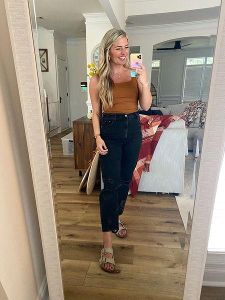 Bodysuit tts have the medium - love this rust color. Seamless bodysuit from amazon. $25 prime.   Abercrombie curve love black denim - tts have the 29  Birkenstock dupes so comfy and tts. $25 prime   #LTKunder50 #LTKsalealert #LTKshoecrush