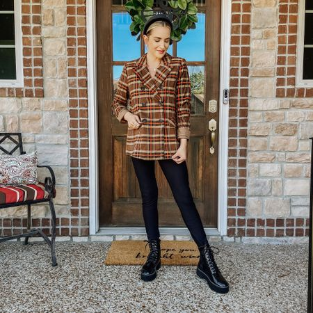 """BREAKING NEWS: I love plaid, I love blazers, I love combat boots, and I REALLY LOVE FALL. Too bad this 📷 was taken prior to decorating our front porch... the set up now includes the largest mums I've ever seen, and lots of pretty pumpkins straight from the patch. While I'm definitely feeling better, I am not 100% myself just yet. Getting dressed, adding a touch of makeup, and playing around with accessories, gives me a little piece of myself back. Soon I hope to be """"normal"""" ol' me. Until then, I hope you are enjoying my front porch style, inspired by too much time on Pinterest."""