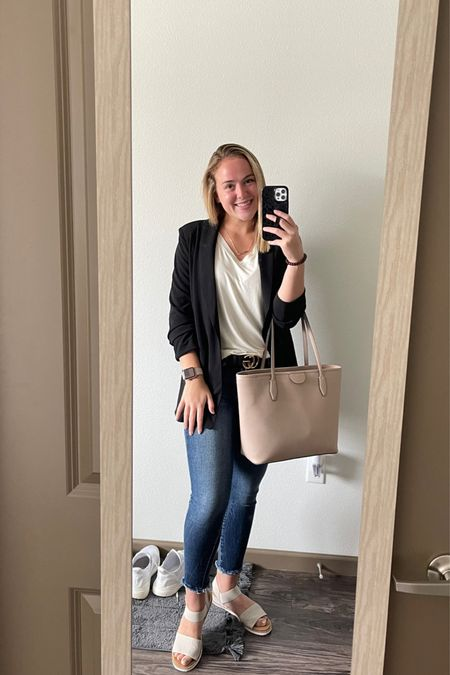 Love this business casual look and the blazer is on SALE!!! Check it out, you can wow and be comfy at the same time! These distressed skinny jeans are so cute but you can also dress them up or down. The nude sandals are so versatile. I also love the nude tote bag, it's the perfect size for a college student or in the business world!   #LTKsalealert #LTKitbag #LTKbacktoschool