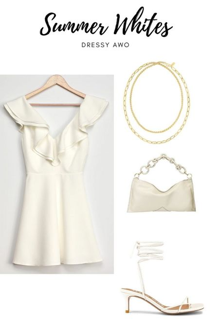Next up in the all white outfit options this cute dress! Perfect for date nights, more special occasions, bridal shower or bachelorette celebrations 🤍 accessorize with this cute double chain necklace. If you have been wanting to try layering necklaces this is perfect way to start as it's already done for you 🙌    #LTKtravel #LTKunder100 #LTKwedding