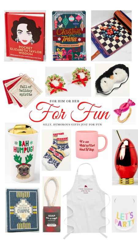 Christmas gift guide for fun. Silly humorous gift ideas for him or her. Trivia, Elizabeth Taylor, checkers, coasters, wreath earrings, penguin mask, pug mug, cozy socks, bulb cup, soap on rope, apron, wine glass. http://liketk.it/31uwQ @liketoknow.it #liketkit #LTKgiftspo #LTKsalealert #LTKunder50 #LTKunder100 #LTKhome #LTKfamily #LTKkids