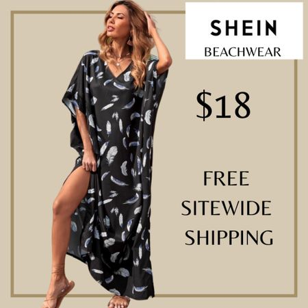 Feather print batwing sleeve swimsuit beach cover up from Shein and free sitewide shipping today   http://liketk.it/3i00z #liketkit @liketoknow.it #LTKswim #LTKunder50 #LTKstyletip You can instantly shop my looks by following me on the LIKEtoKNOW.it shopping app