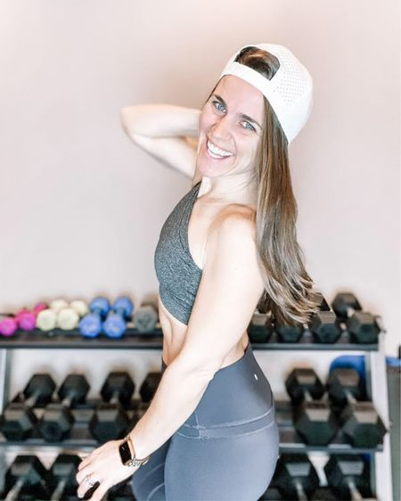 I am loving this gray Helisopus one shoulder sports bra and black CRZ Yoga leggings from Amazon! Both fit true to size and looks great with this white Melin hat from Amazon too! This is such a cute and comfortable outfit that is great for my workouts! I also linked my leopard cheetah apple watch band and my pink set of weights! Click here to shop the full look! http://liketk.it/38IO5 #liketkit @liketoknow.it #StayHomeWithLTK #LTKfit Follow me on the LIKEtoKNOW.it shopping app to get the product details for this look and others!