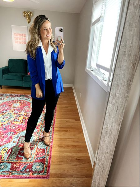 amazon finds for the office: This blazer is part of a set but i don't love the pants so I linked some of my favorite blazers that are very similar! These work pants are the most comfy! and this white top is another amazon fashion find.  #LTKunder50 #LTKworkwear #LTKstyletip