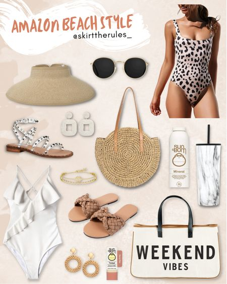 Amazon fashion, Amazon finds, summer outfit, beach vacation style, vacation outfits, summer style, beach accessories: leopard swimsuit, round sunglasses, straw visor, studded sandals, straw circle bag, white statement earrings, white one piece swimsuit, white swimsuit, tan woven sandals, tan slide sandals, weekend bag, marble drink tumbler, marble cup, raffia earrings. @liketoknow.it http://liketk.it/3egAR #liketkit   #LTKunder50 #LTKswim #LTKstyletip