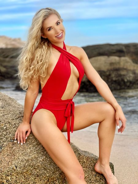 Obsessed with this red one piece bathing suit from Revolve. Perfect for a beautiful summer day❣️  #LTKswim
