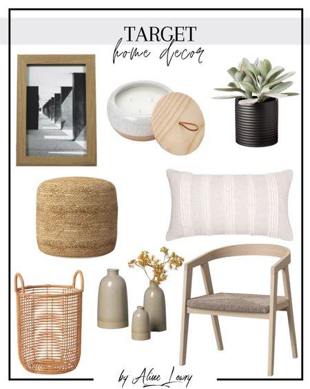 My favorite Target home decor!   Vase gray, rattan basket, pillow cream, faux succulent, frame, wood chair, jada woven pouf, candle, furniture, living room, target finds  #LTKhome #LTKfamily #LTKunder50