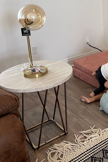 Putting our house together & it's so fun to pull new pieces out of boxes & watch them bring old t pieces back to life. I grabbed two of these gold modern lamps with glass gloves - couldn't resist! And these geometric end table come as a set of three for a great price!!!   #LTKstyletip #LTKhome