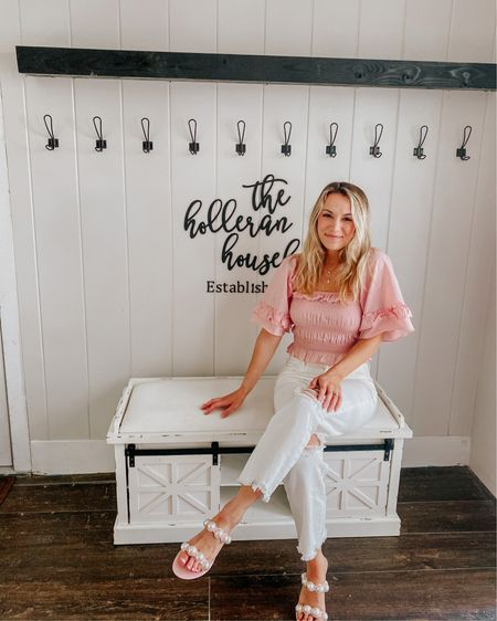 Prepping the breezeway this week to decorate for summer 🤗💕 I shared all of the summer home decor I got on this week's vlog! 🤍🌿  I loved all of the spring florals and pastel tones, but I am SO excited to decorate for summer! 💛  Outfit & decor are linked in LIKEtoKNOW.it 💗 http://liketk.it/3g0yk #liketkit @liketoknow.it