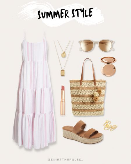 Nordstrom, summer outfit, beach vacation, summer style, date night outfit, casual dress, summer dress: pink midi dress, pink striped maxi dress, tiered maxi dress, straw tote bag, straw bag with pom poms, gold sunglasses, mirrored sunglasses, gold layered necklaces, Charlotte Tilbury bronzer, pink lipstick, espadrille sandals, gold stacking rings. @liketoknow.it http://liketk.it/3gvxc #liketkit   #LTKunder50 #LTKunder100 #LTKstyletip