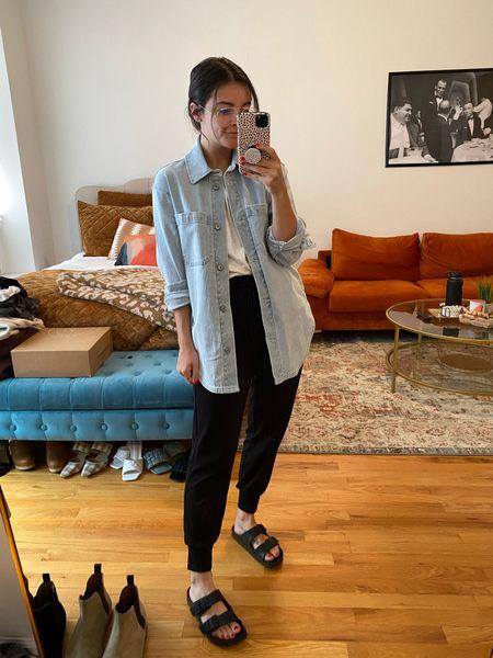 Shirt jacket Shacket Travel pant  Travel outfit Birks Comfy look Comfort Ease Easy outfit  Abercrombie Loft   #LTKunder50 #LTKunder100 #LTKstyletip