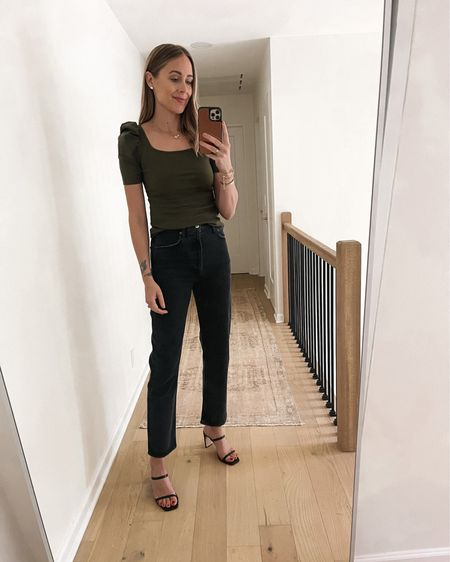 #amazonfashion green puff sleeve top with black jeans and black heeled sandals #falloutfit   #LTKunder50 #LTKstyletip #LTKunder100