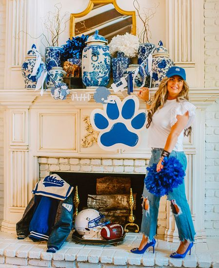 CheeR: A great pair of jeans and white T-shirt can become the perfect look to cheer on any team with the right accessories & confidence to carry it.  I have linked my entire look and also other jeans up to 3X (maternity also) Cheer in style! ~XXAP  #airicapuckettstyle #APstyle   #LTKshoecrush #LTKstyletip #LTKunder100