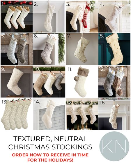 Textured, neutral Christmas stockings — order now to receive in time for the holidays! Home decor Christmas decor fur stocking cream stocking knit stocking mantel decor  #LTKunder50 #LTKSeasonal #LTKHoliday