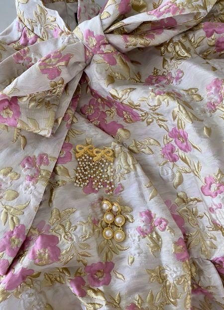 Bow earrings, bow dress, pearl earrings, statement earrings, sister Jane, jacquard bow dress