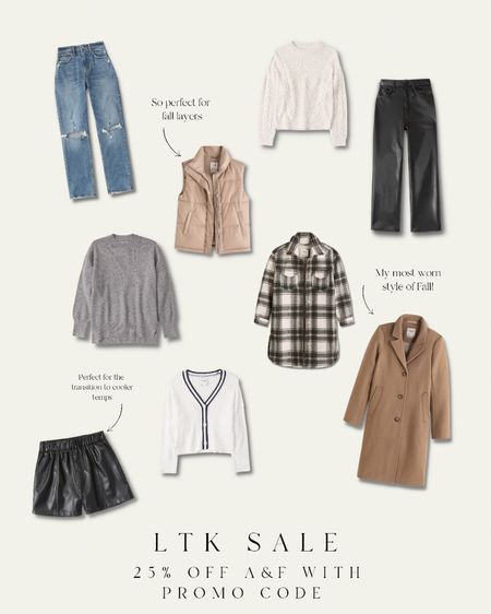 Get 25% off abercrombie & Fitch with the exclusive promo code in the app. Great fall fashion  Dad coat wool coat Leather pants leather shorts  Vest puffer vest  Sweater  #LTKSeasonal #LTKunder100 #LTKSale