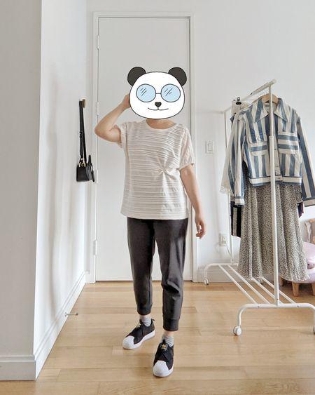 cropped jogger pants, adidas slip on sneakers, organic shorty socks, petite-friendly easy outfit!  #LTKshoecrush #LTKunder100 #LTKstyletip