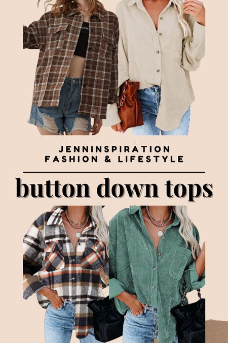 Button down tops from Amazon under $35! Plaid, neutral tones, sage green colors. Perfect to layer and accessorize with silver or gold jewelry   #LTKsalealert #LTKbacktoschool #LTKSeasonal