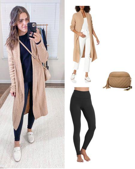 Amazon fashion items I bought vs how I styled them! Camel coatigan (xs), black Colorfulkoala leggings (s), taupe crossbody   #LTKstyletip #LTKunder50