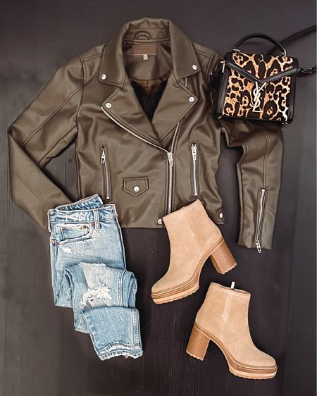 Another faux leather jacket that I'm loving! Olive green is the perfect color for fall outfits. Paired with Steve Madden heeled suede boots, mom jeans and black tank from Abercrombie, and my new leopard print YSL bag.   #LTKSeasonal #LTKHoliday #LTKshoecrush