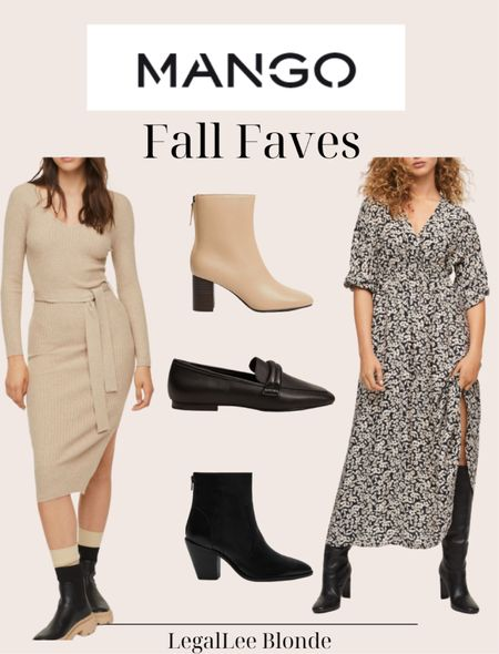 Fall favorites from mango! Perfect business casual looks! - fall dresses - maxi dress - fall boots - ankle boots - sweater dress - teacher style - office wear - work wear - belt ribbed dress - floral print dress - leather ankle boots  #LTKunder100 #LTKshoecrush #LTKworkwear
