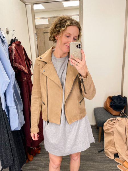 Buttery soft suede jacket. Lightweight and perfect for fall 🍁. Wearing a small, but I will size up to a medium.   #LTKSeasonal #LTKunder100 #LTKHoliday