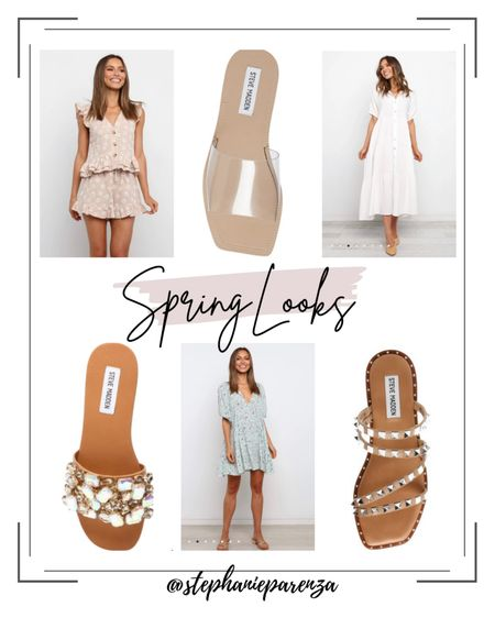 Currently shopping: spring styles! I love pairing spring dresses with a nude or clear sandal. The set and dress are nursing friendly! Love these Steve Madden neutral sandals with a little extra bling! http://liketk.it/39fmJ #liketkit @liketoknow.it #LTKshoecrush #LTKunder100 #LTKstyletip