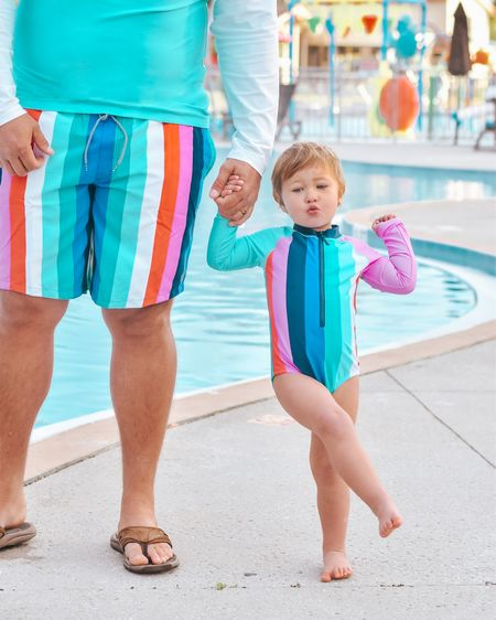 Matching stripes all around 🥰  these cabana life stripe daddy daughter swimsuits are so cute! Had to get one for myself too. I linked the cabana stripe options for girls, boys, mom and dad.  http://liketk.it/36bnr @liketoknow.it #LTKfamily #LTKswim #LTKtravel #cabanalife #crystalriver #floridatravel #liketkit