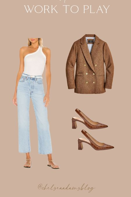 J crew blazer Blazer outfit Straight jeans Fall work look Vince slingback heels Fall outfit inspo White bodysuit Eternity band Amazon finds  Labor Day Teacher Outfits Halloween  Fall Decor Business Casual Halloween Decor Fall OutfitsPlus Size FashionHalloween Costumes  #LTKunder100 #LTKworkwear #LTKunder50