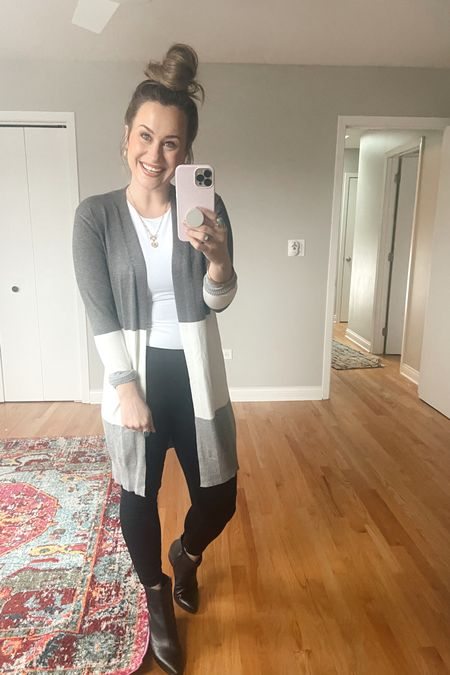 Amazon fashion finds! This white bodysuit, long cardigan, gold hoops and initial necklace are all amazon finds also linked my black pants and booties, this is a great business casual outfit #liketkit @liketoknow.it http://liketk.it/39qPk #LTKworkwear #LTKshoecrush #LTKunder50