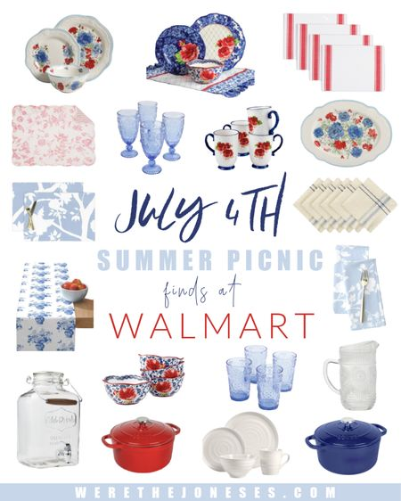 Red white and blue summer picnic ♥️ 💙 🤍  Plan you backyard BBQ or 4th of July party with a festive tablescape! The Pioneer Woman heritage floral bowls are my favorite!! What's yours?? 🇺🇸 🌹 🍽  . .  #ad #walmarthome summer home decor, Walmart finds, backyard entertaining, home decor, patio, July 4th, 4th of July, summer decor, patriotic decor, glasses, dishes, placemat, coffe mug, tablecloth http://liketk.it/3iFnp #liketkit @liketoknow.it #LTKhome #LTKunder50 #LTKunder100 @liketoknow.it.home