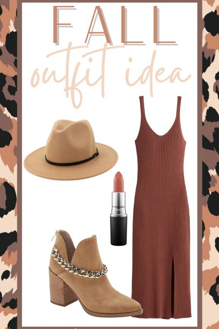 Fall outfit idea midi dress booties  #LTKunder50 #LTKSeasonal #LTKsalealert