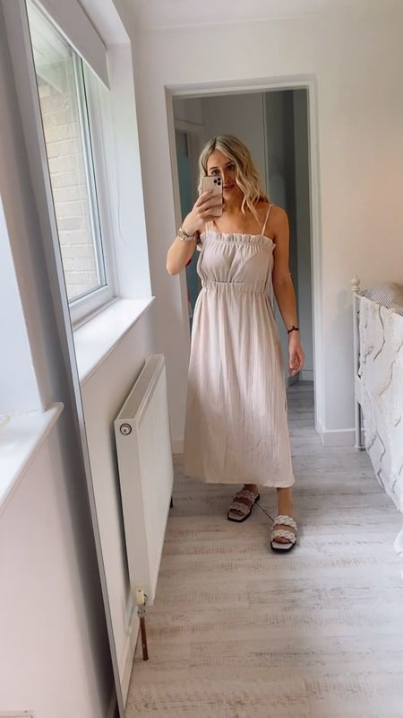 Office outfits - office outfit - office style - smart casual dress - floaty dress - strappy dress - cami dress - neutral dress - strappy sandals - braided sandals - woven sandals - H&M woven sandals - H&M braided sandals - summer style - summer outfits - maxi dress   #LTKSeasonal #LTKshoecrush #LTKunder50