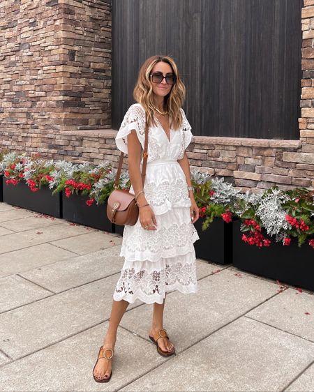White lace dress with ruffle details and lined midi length xs - perfect vacation dress    #LTKshoecrush #LTKstyletip #LTKSeasonal