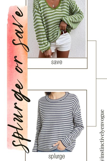 Splurge vs save, shein, madewell, striped sweater, drop shoulder sweater, cozy, fall outfits, casual outfits   #LTKstyletip #LTKunder50 #LTKunder100