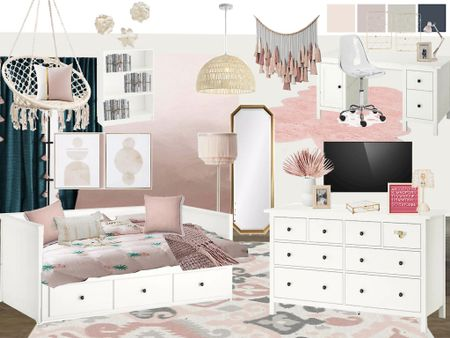 Blush and gold teen girl room! Featuring IKEA furniture and Etsy peel and stick wallpaper   #LTKhome