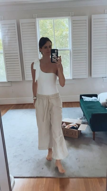 J crew try on, linen pants, one peice swim, finding beauty mom, white swimsuit, bachelorette, bride style, bride outfit   #LTKtravel #LTKwedding #LTKSeasonal
