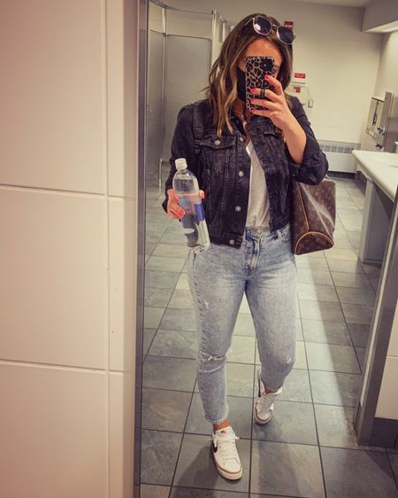 Travel outfit. Straight jeans. Gap jeans. Denim jacket. Free people. http://liketk.it/3fYxM #liketkit @liketoknow.it #LTKtravel #LTKunder100 #LTKstyletip