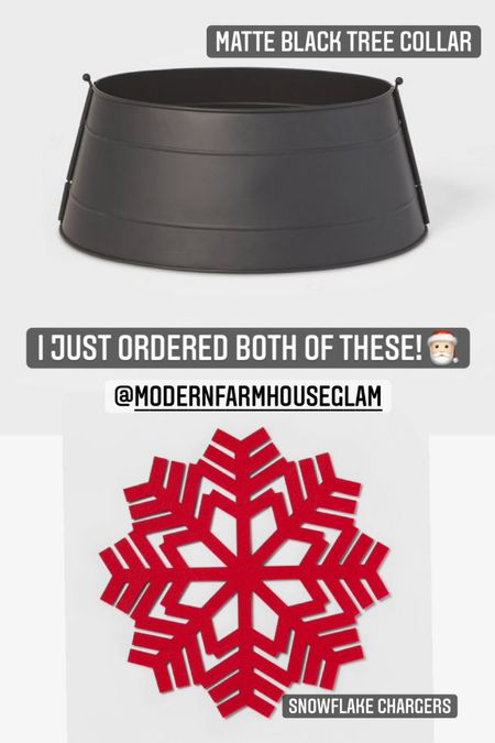 I'm ordering all of my Christmas items early this year before everything sells out. I love this matte black Christmas tree collar and also the red felt snowflake chargers for underneath the dining room plates. Christmas decor, Christmas decorations, Christmas tree, flocked tree, Christmas tree skirt, a Modern Farmhouse Glam  #LTKSeasonal #LTKhome #LTKHoliday