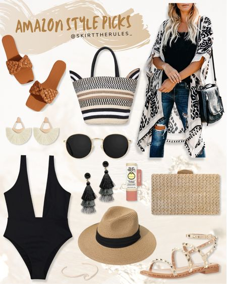 Amazon fashion, Amazon finds, summer fashion, beach vacation outfits: black and white kimono, black and white coverup, brown slide sandals, brown woven slide sandals, black and white striped straw tote bag, white tassel earrings, gold round sunglasses, black swimsuit, black deep v-neck swimsuit, black tassel earrings, straw clutch, straw panama hat, studded sandals. @liketoknow.it http://liketk.it/3eUs3 #liketkit   #LTKunder50 #LTKstyletip #LTKswim