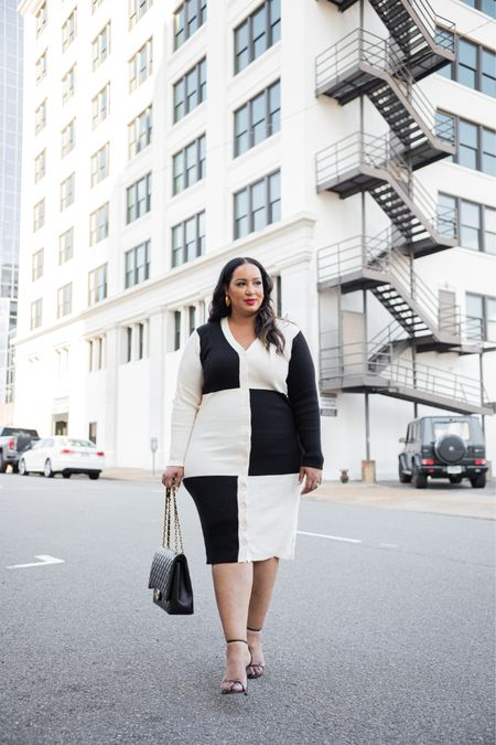 Sweater dress, black and white, ELOQUII, sale  #LTKSeasonal #LTKcurves