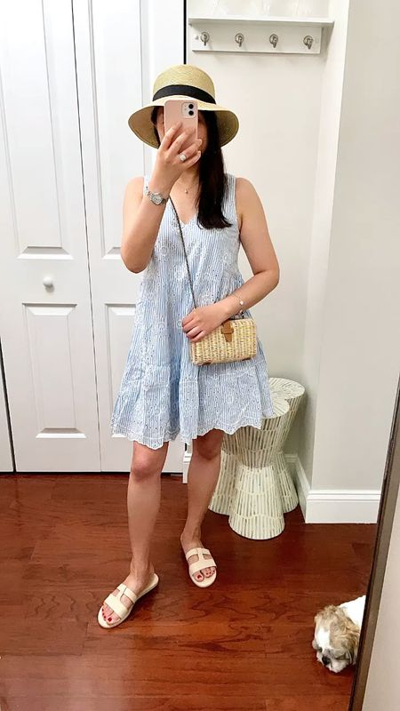 """Eyelet dress (lined) in my usual size XXS. To put on the dress you need to pull it over your head (there's no zipper or other openings). I'm 5' 2.5"""" and 113 pounds.  #LTKwedding #LTKshoecrush #LTKstyletip"""