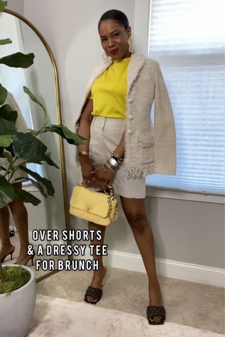 I adore this look. Pair of the shorts with a yellow T-shirt and tweed blazer to elevate this casual cool out. http://liketk.it/3aGYv @liketoknow.it #liketkit #LTKstyletip