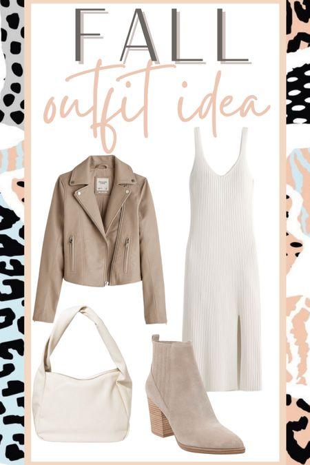 Fall outfit idea MIDI dress Leather jacket   #LTKsalealert #LTKstyletip #LTKunder50